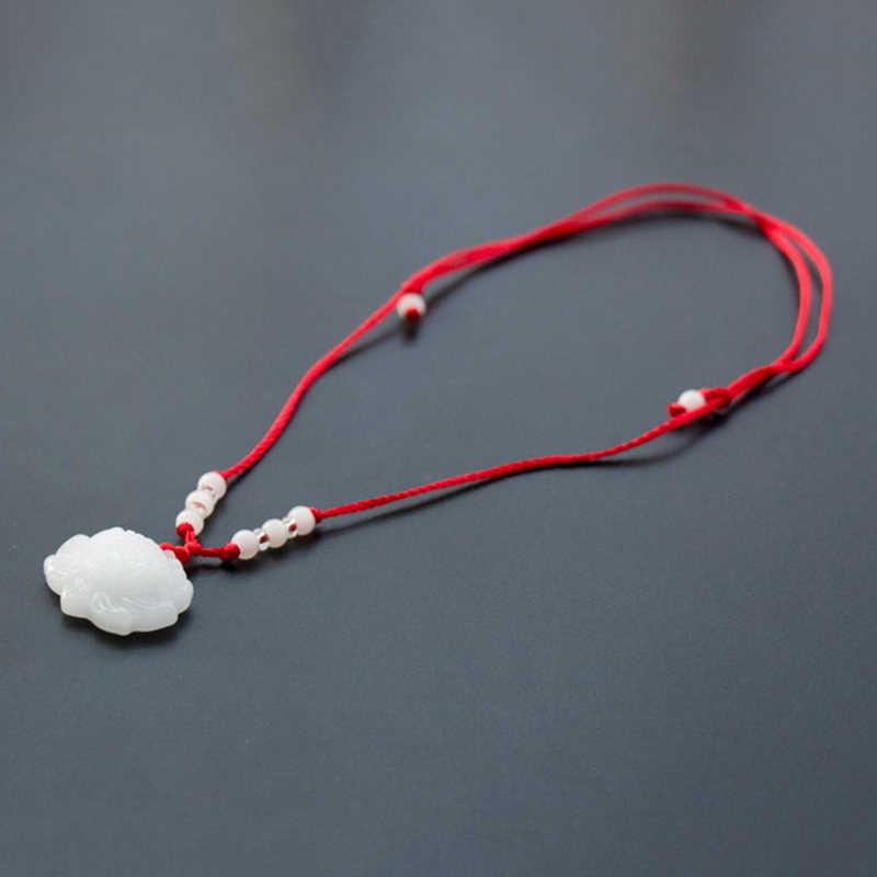 Cadena de cuerda roja colgante collar de moda para mujer collar de Jade verde blanco flor de loto de Jade amuleto de la suerte collar joyería regalos