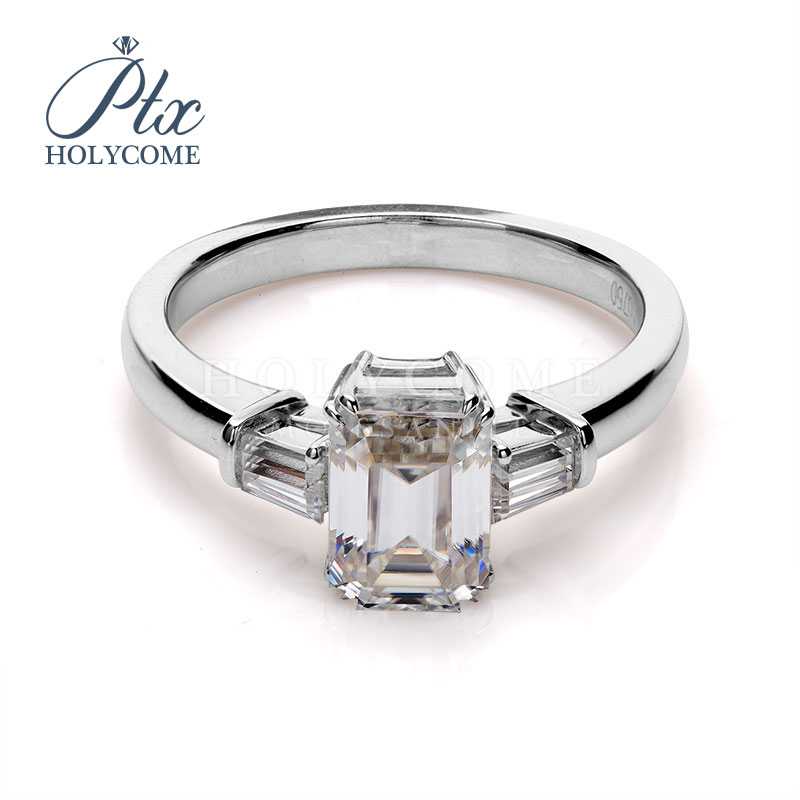 Jewelry Diamond-Ring Emerald-Cut Platinum Moissanite Wedding Custom-Design White  title=