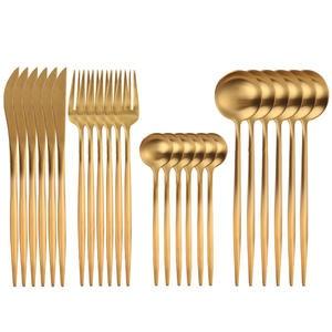 Dishwasher Safe Tableware-Set Knife-Fork Spoon Stainless-Steel Gold 24pcs 18/10