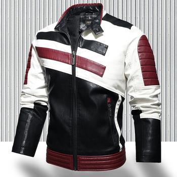 2020 męskie Trendy nowy silnik skórzana kurtka znosić mężczyźni zima moda na co dzień Biker kurtka PU płaszcz mężczyzna Slim skórzana kurtka Bomber tanie i dobre opinie STANDARD NONE Poliester men jacket leather jacket men Stałe REGULAR Zamki zipper Pełna