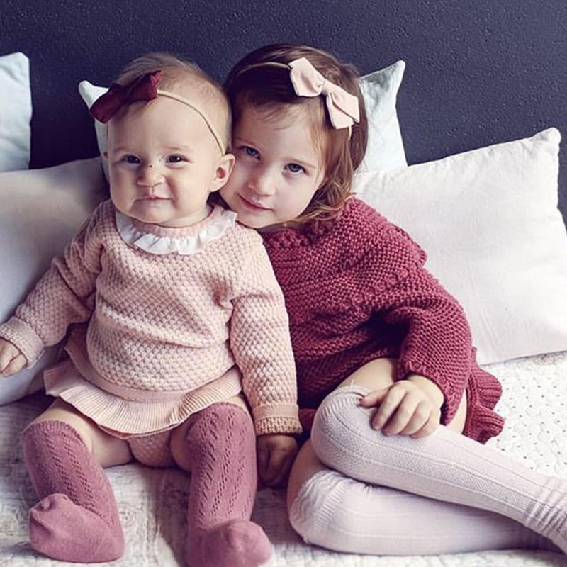 Nico Louise New Style Girls Fold-down Collar Sweater Female Baby Set Two-Piece Pants Infant Kids' Sweater