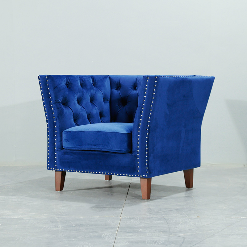 U-BEST New design armchairs blue velvet Button-tufted sofa chair home villa furniture,home wood furniture image