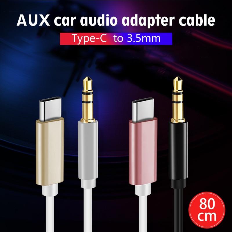 Aux автомобильный аудиоадаптер кабель Type-C к 3,5 мм Кабель-адаптер 80 см USBC Type C к 3,5 мм кабель для Huawei для Xiaomi