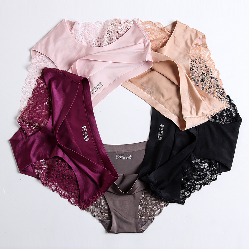 3 pieces / lot Women Sexy Underwear Briefs breathable Hollow Transparent Panties for women Cotton Crotch Women's Lace Panties