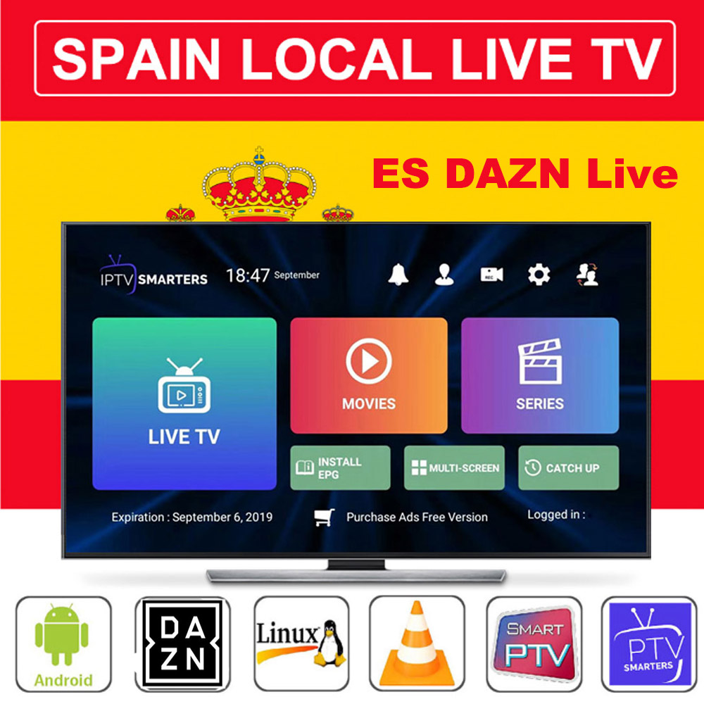 Europe IPTV Spain m3u Subscription Spain DAZN La Liga Movistar Alquiler HEVC For Smart IPTV Smarters Smart TV Box ANdroid 9 MAGs