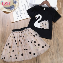 Children Clothing Swan T-shirt+Star Mesh Skirt 2pcs Outfit 2021 Summer Toddler Girls Clothes Suit Kids Tracksuit For Girls Sets
