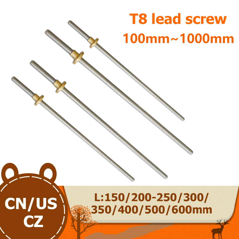 T8 Lead Screw OD 8mm Pitch 2mm Lead 8mm 100mm 200mm 300mm 350mm 400mm 500mm 600 Mm With Brass Nut For Reprap 3D Printer