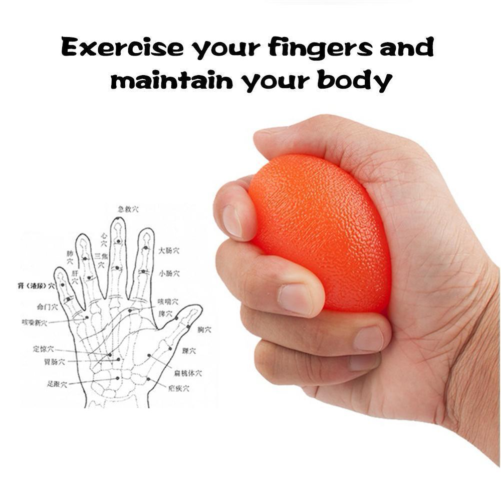 Silicone Gel Egg Stress Ball Hand Relax Squeeze Relief Adults Toy Fitness Expander Gripper  Wrist Finger Exerciser Trainer Power