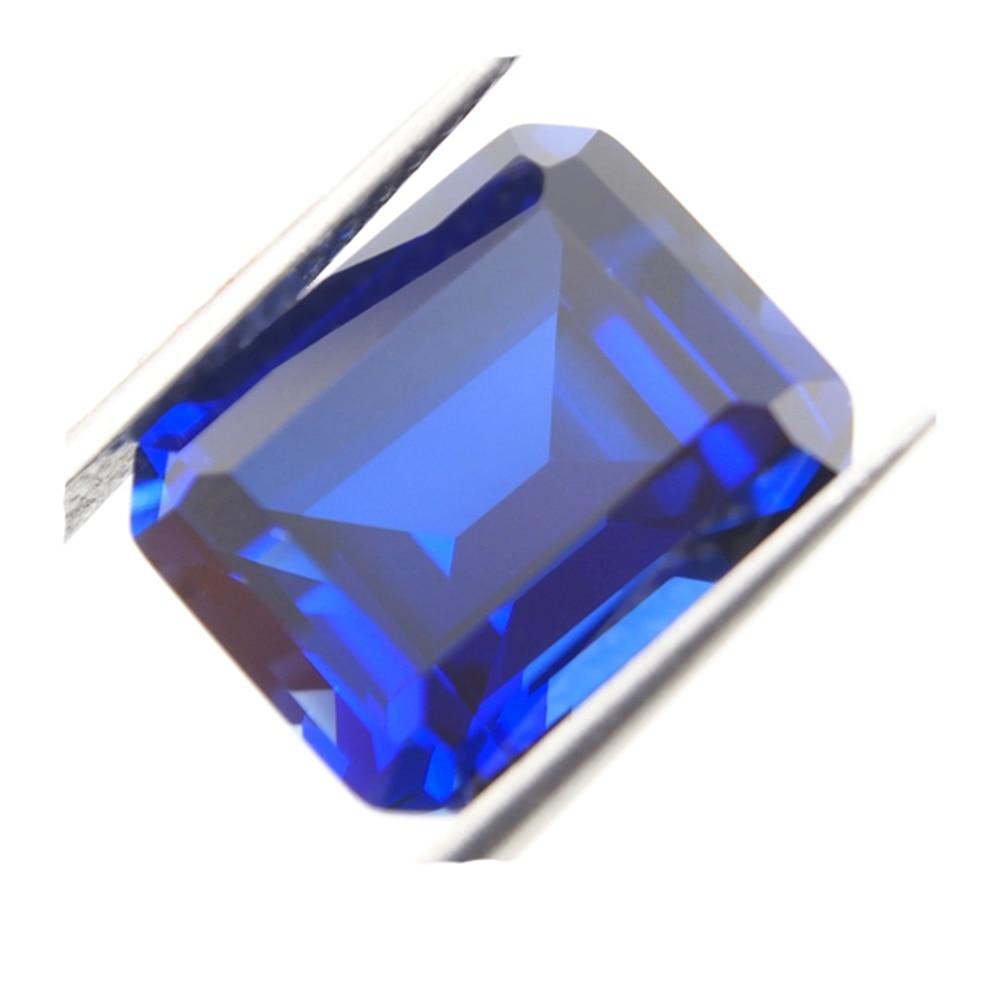 8*10 mm 5Piece /alot Blue Sapphire emerald cut 34# corundum Loose Gemstone for necklace making