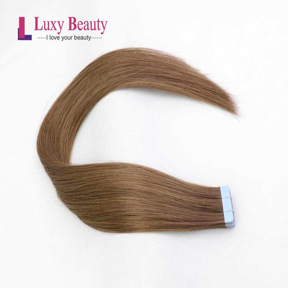 "LuxyBeauty #6 Middle Brown Tape In Hair Extensions Human Hair Remy Straight Double Sided Skin Weft Hair On Adhesives 12"" - 22"""
