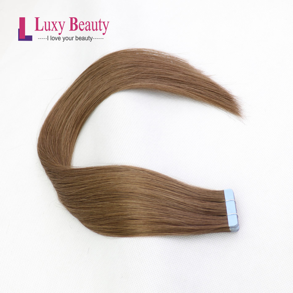 LuxyBeauty #6 Middle Brown Tape In Hair Extensions Human Hair Remy Straight Double Sided Skin Weft Hair On Adhesives 12