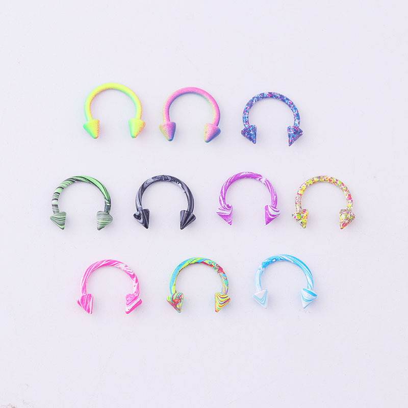 9pcs Stainless Steel Curved Barbell Nipplerings Piercing Retainer Color Plated