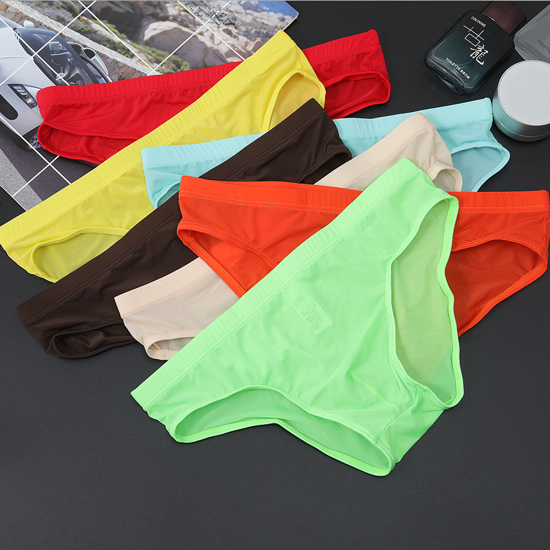 Sexy Men's Underwear  One-piece Ultra-thin Transparent Ice Silk Men's Briefs Low Waist Sexy Shorts Men Elastic Underpants