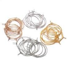 50 шт./лот 20 25 30 35 мм серебряные KC золотые кольца серьги большой круг уха провода обручи серьги провода для DIY ювелирных изделий поставки