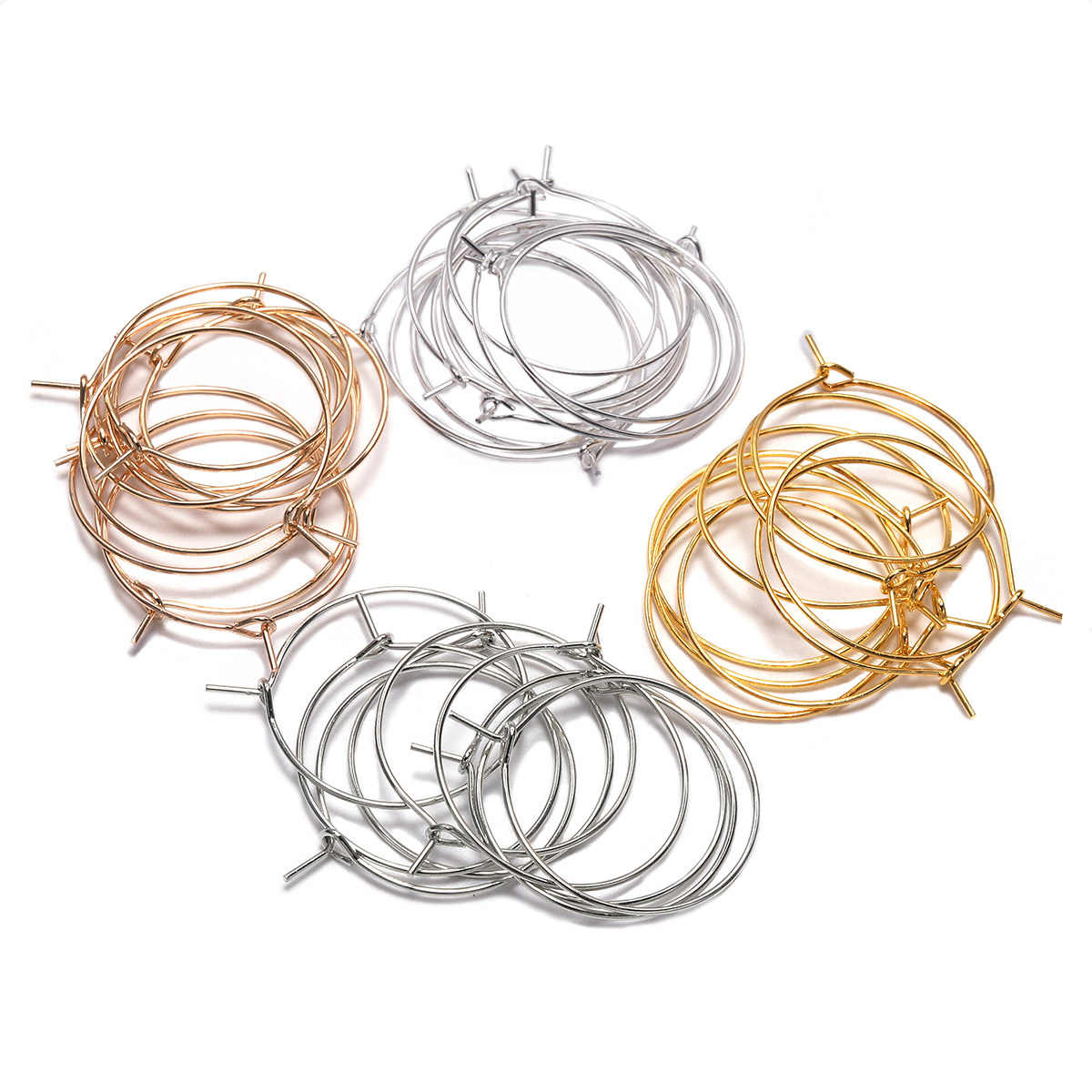 50pcs/lot 20 25 30 35 mm Silver KC Gold Hoops Earrings Big Circle Ear Wire Hoops Earrings Wires For DIY Jewelry Making Supplies