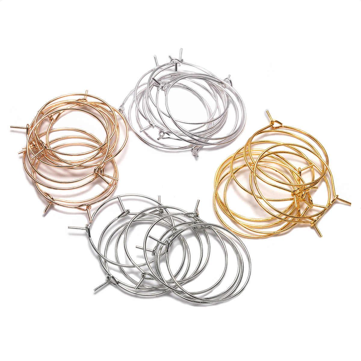 50 ชิ้น/ล็อต 20 25 30 35 มม.เงิน KC GOLD Hoops ต่างหู Big Circle EAR Hoops ต่างหูสายสำหรับ DIY เครื่องประดับทำอุปกรณ์