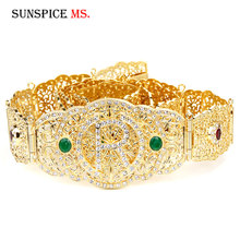 SUNSPICEMS Moroccan Caftan Wedding Belt for Women Gold Color Red Green Crystal Metal Belly Chain Adjustable Length crystal studded wide waist chain adjustable length roman wedding jewelry luxurious women gold color rhinestone belly chains belt