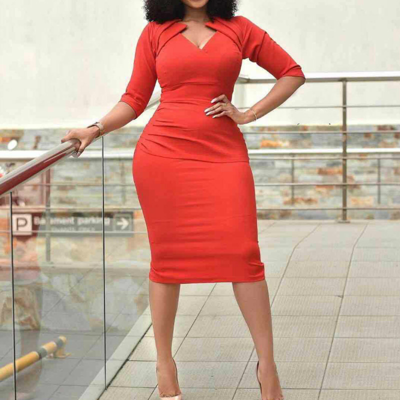 Red Bodycon Dress V Neck African Large Size Knee Length Women's Package Hip Half Sleeves Elegant Ladies Office Modest Workwear