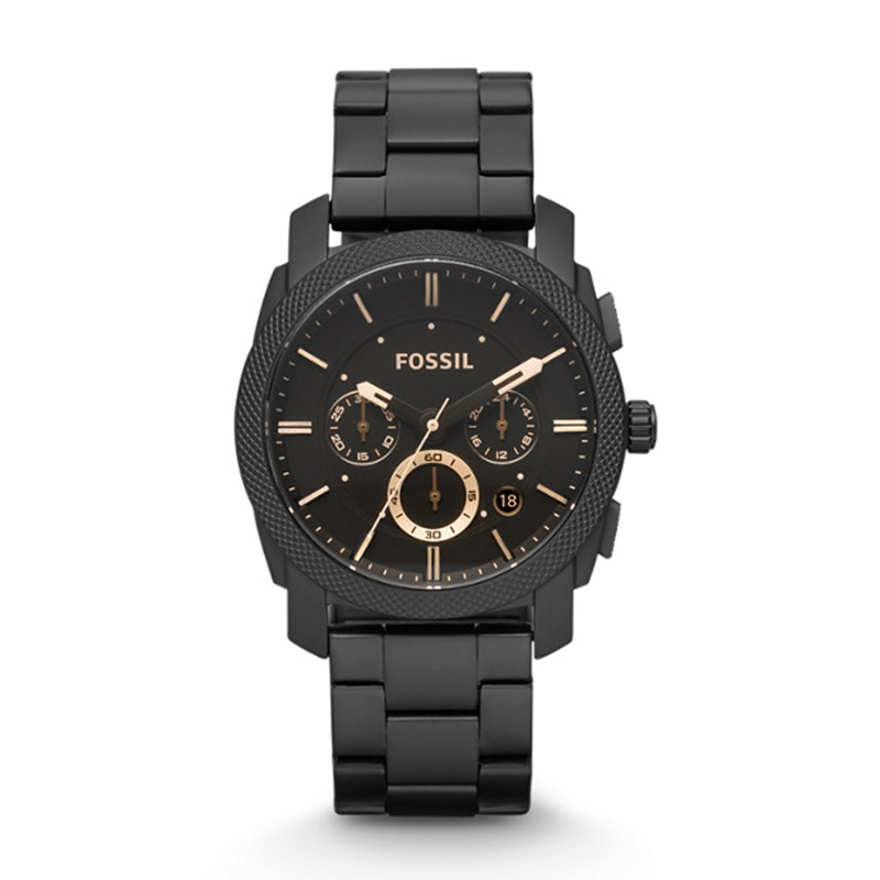 Fossil Watch Men Machine Mid-Size Chronograph Watch With Black Stainless Steel Wristwatch Mens Watches Top Brand Luxury FS4682