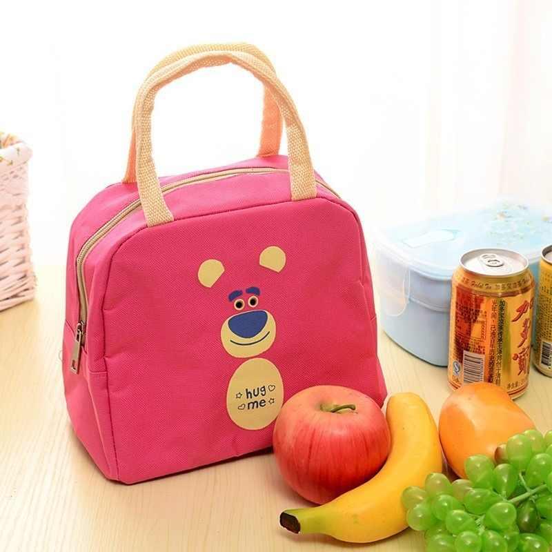 Bolsos para la comida para mujer, bolsa aislante creativa de preservación del calor, bonita lonchera portátil de nailon con dibujos animados, bolsa de almuerzo a la moda para Picnic