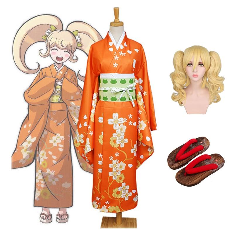 2020 Super Danganronpa 2 Cosplay Costume Hiyoko Saionji Kimono Costume Halloween Carnival Shoes and Wig Free Shipping