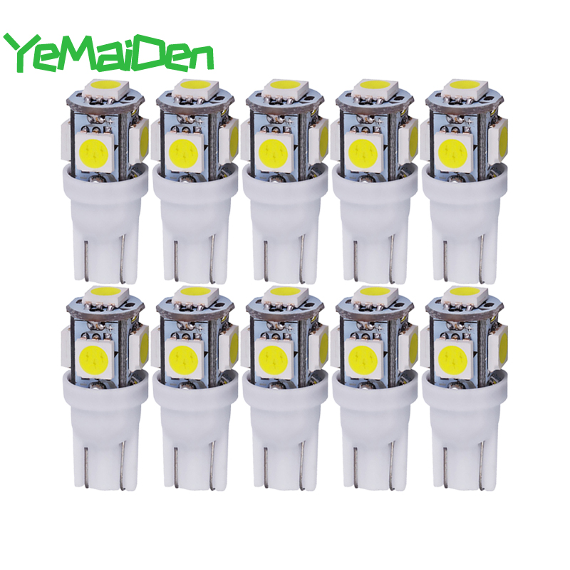 10x Car T10 5W5 W5W LED Bulb 12V 7000K 5050 5 SMD 5W5 LED Signal Light Wedge Side Interior Dome Reading Clearance Lamps Styling