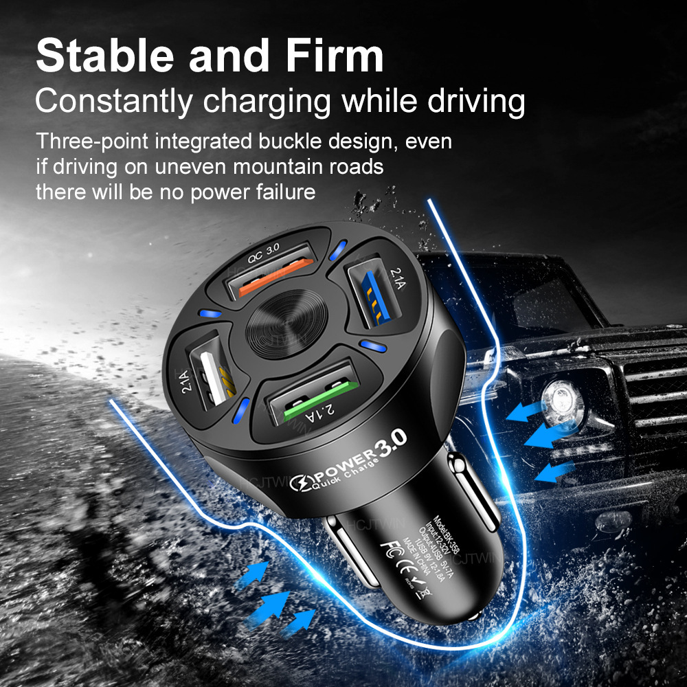 3A QC3.0 4USB Car Charger Fast Charge Car Charger One for Four Vehicle-Mounted Mobile Phone Charger Cross-Border Wholesale 2
