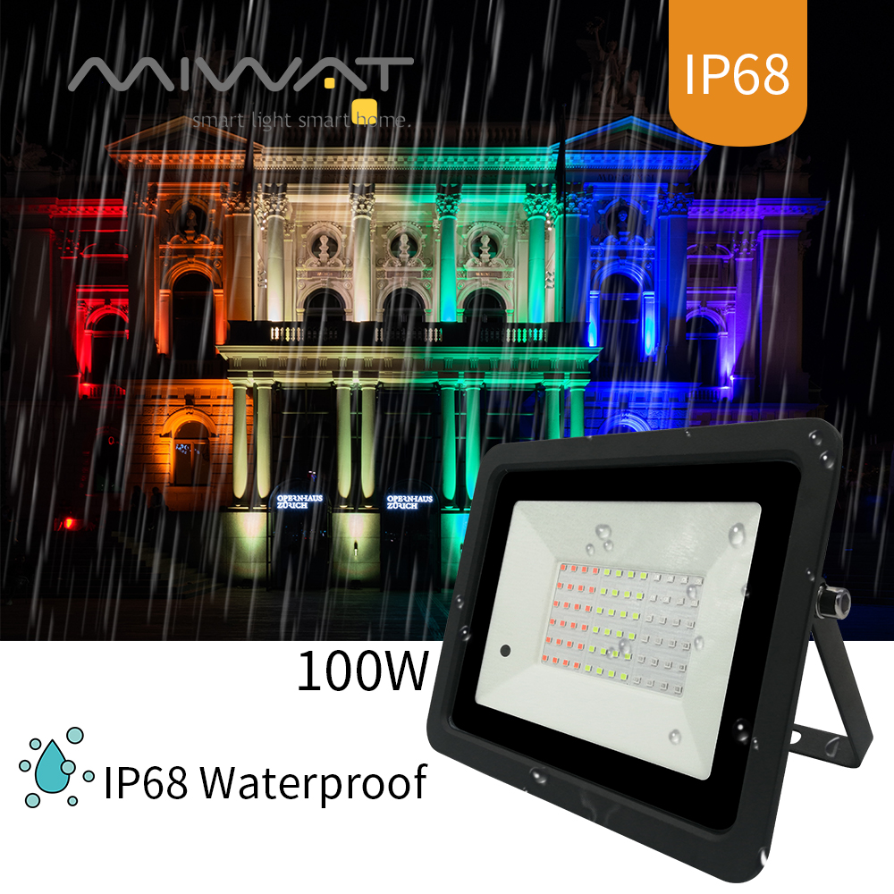 2020 Latest RGB Led Flood Light 20W 30W 50W 100W RGB Reflector Spotlight IP68 Waterproof Wall Washer Light 110V/220V Garden Lamp