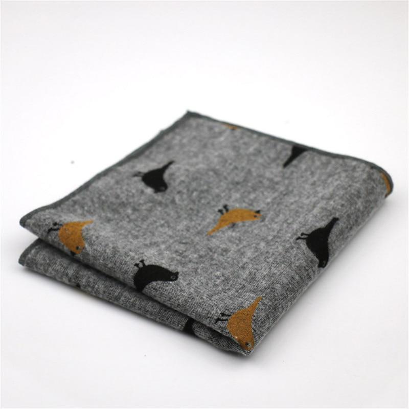 New Brand Men's Pocket Square Handmade Design Cotton Printed Bird Soft Light Elegant 25*25cm Wedding Party