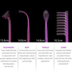 Image 3 - Darsonval 高周波美顔器機杖スティック Chromotherapy 電極紫外光スキンケアアルゴンガス
