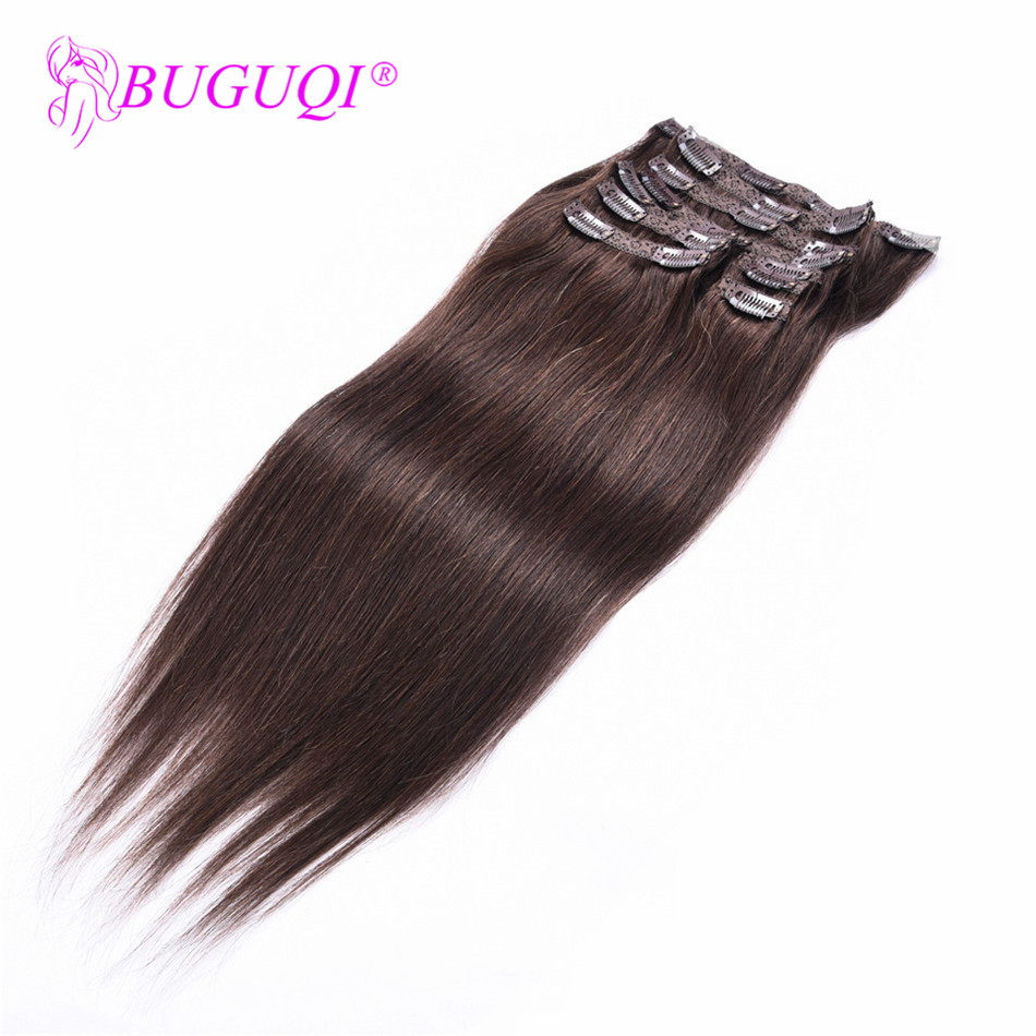 BUGUQI Hair Clip In Human Hair Extensions Peruvian #2 Remy 16 To 26 Inch 100g Machine Made Clip Human Hair Extensions