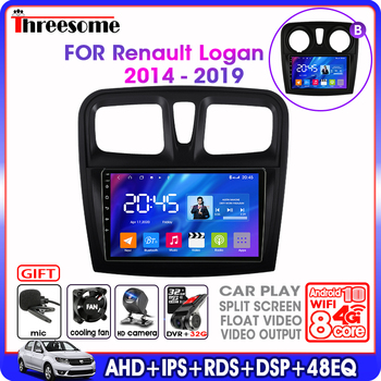 T6 Android 9 car Radio multimedia Player For Renault Logan 2 Sandero2 2012-2019 IPS 2.5D GPS Navigation 4G net RDS Split Screen image