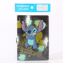 Disney boy girl carton New Stitch Cartoon PU Passport Case wallet Student ID card Holder coin bag