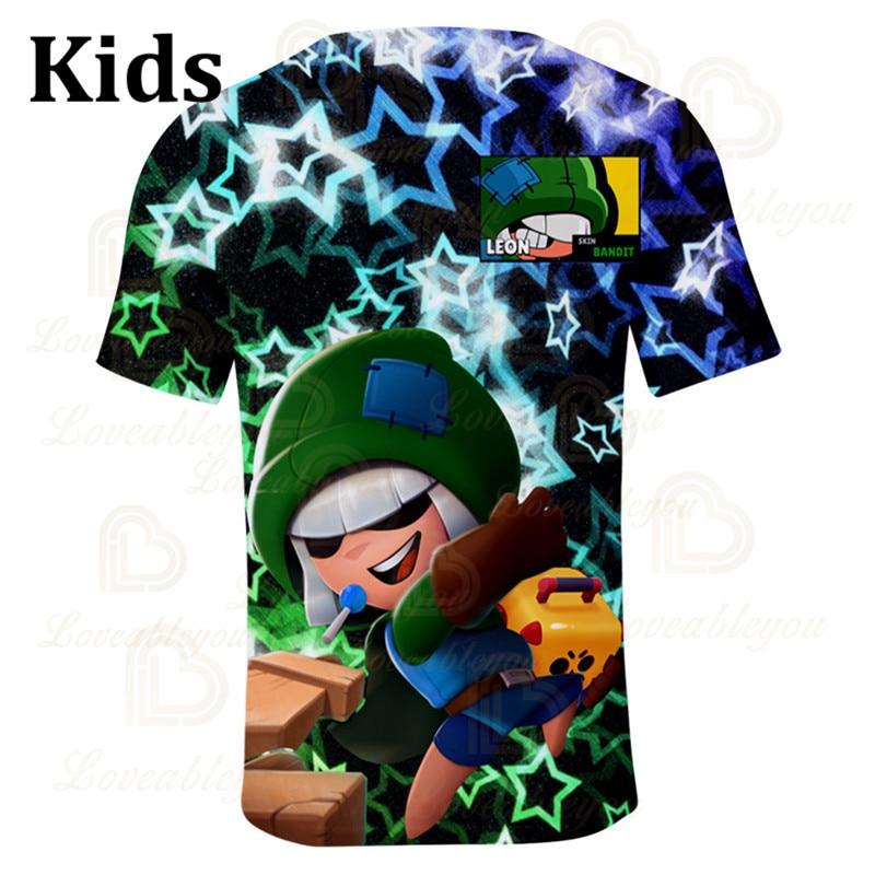 Leon Shooter Kids T-shirt Leon Shooting Game Spike 3D Print Tshirt Tops Boys Girls Gameing Cartoon Star Shirt Tops Teen Clothes  - buy with discount