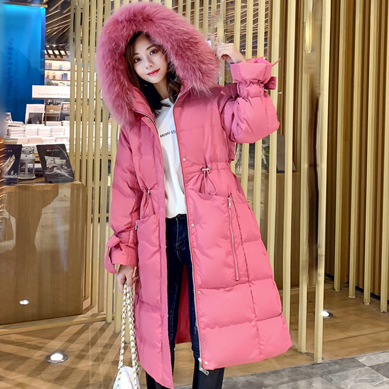 Solid Fur Hooded Long Winter Down Coat Women Plus Size Warm Thicken Cotton Parka Coats Female Casual Slim Hardy Korean Down Coat