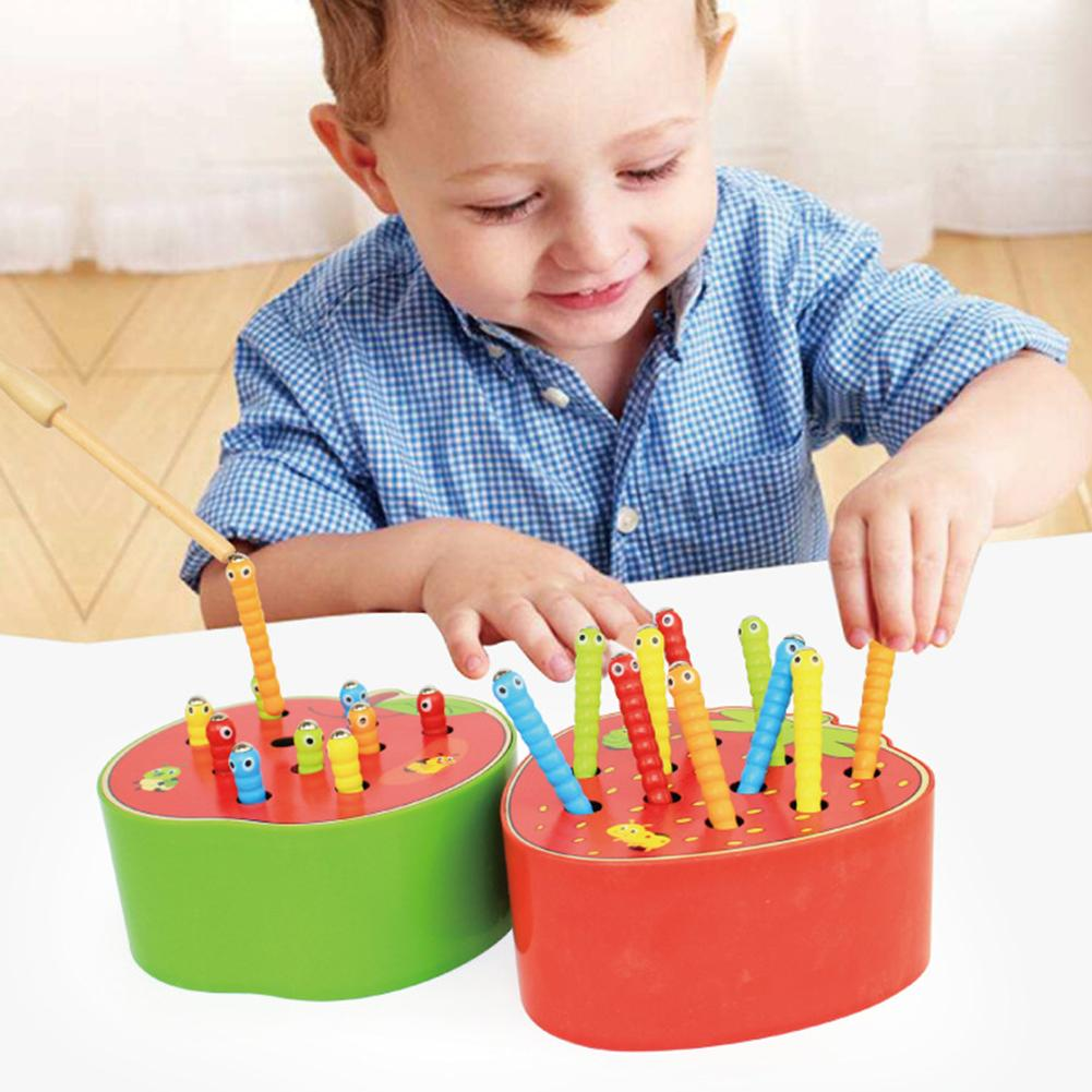 Fruit Shape Wooden Catch Colorful Worms Game Magnetic Stick Interactive Kids Toy