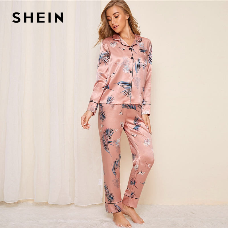 SHEIN Pink Crane And Leaf Print Satin Pajama Set Women Autumn Casual Short Sleeve Pocket Sleepwear Long Pants Pajama Sets