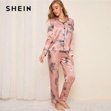 SHEIN Pink Crane and Leaf Print Satin Pajama Set Women Autum