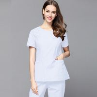 Plug Size Women Slim Fit Medical Clothing Hidden Zipper Opening front Scrub set round collar short sleeve doctor nurse Veterinar