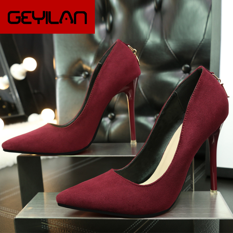 Sexy Suede Ladies High Heels Fashion Roman Metal Letter Shallow Mouth PU Women Shoes Pumps Pointed Stiletto Heels Party Shoes