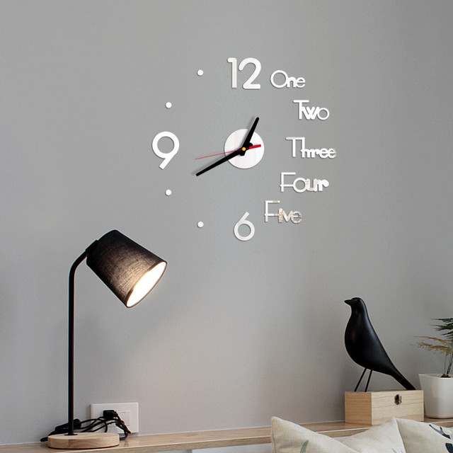 DIY Creative Wall Clock Modern Design Decorative 3D Acrylic Mirror Surface Sticker HomeLiving Room Office Decor Wallclock 20#27 6