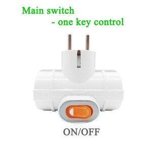 Image 4 - 4.8mm padrão da ue adaptador de alimentação soquete din plug 1 a 3 soquete com interruptor 16a 250v viagem parede carregador conversor soquete