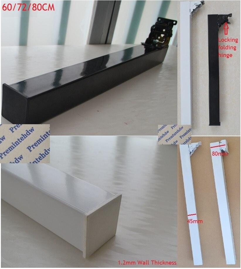 60CM 72CM 80CM High Folding Table Desk Benchtop Bar Square Leg Feet Black White RV Caravan Locking Folding Trigger Hinge