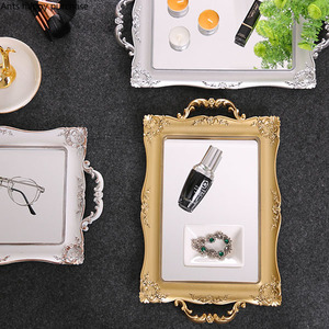 Image 3 - Europäische Quadrat Spiegel Tablett Schlafzimmer Wohnzimmer Shop Dekorationen Tasse Kosmetische Lagerung Fach Trays Dekorative Küche Home Storage