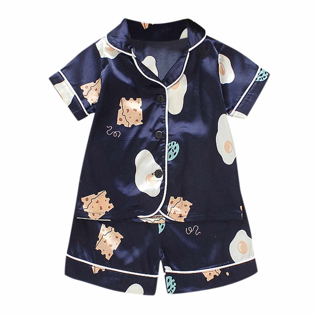 Kids Clothes Baby Pajama Sets for Boys Girls Cartoon Bear Print Outfits Set Short Sleeve Blouse Tops+Shorts Sleepwear Pajamas