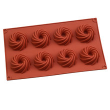 8-cavity Silicone Cake Mold for Baking Pastry Molds Non-stick Desserts Moulds 3D Spiral DIY Baking Mousse