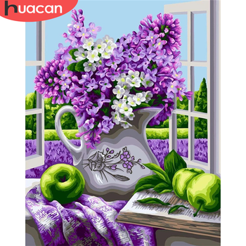 HUACAN DIY Pictures By Number Kits Home Decor Painting By Numbers Flower Drawing On Canvas HandPainted Art Gift