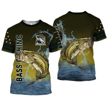 Tessffel New Fashion Animal Art Marlin Bass Hunting Fishing Hunter Camo Casual 3DPrint Unisex T-shirt Short sleeve Men/Women s-4 1