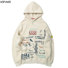 ICPANS Hip Hop Hoodies Sweatshirts Ego Cactus Graffiti Print Fleece Hooded Pullover Sweatshirt Streetwear Men Harajuku
