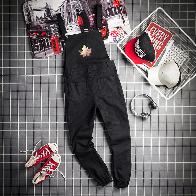 Mens Black Cargo Pants Letter Printed Bib Overalls Casual Straight Long Bib Suspender Trousers Men Fashion Work Jumpsuits XXL 5